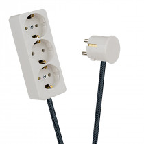 White 3-Way Socket Outlet Dark Grey Netlike