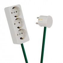 White 3-Way Socket Outlet Green