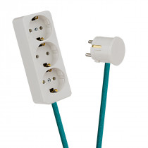 White 3-Way Socket Outlet Turquoise
