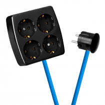 Black 4-Way Socket Outlet Blue Turquoise