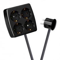 Black 4-Way Socket Outlet Dark Grey