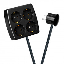 Black 4-Way Socket Outlet Dark Grey Netlike