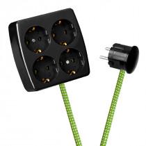 Black 4-Way Socket Outlet Green-White Spots