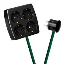 Black 4-Way Socket Outlet Green