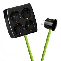 Black 4-Way Socket Outlet Light Green