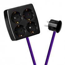 Black 4-Way Socket Outlet Purple