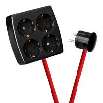 Black 4-Way Socket Outlet Red