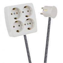 White 4-Way Socket Outlet Black-White Zig Zag