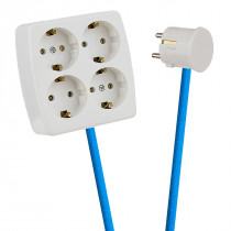 White 4-Way Socket Outlet Blue Turquoise