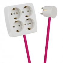 White 4-Way Socket Outlet Cerise