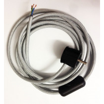 Assembled Supply Cord with Schuko Plug and Inline Cord Switch Silver 3 Core 3m
