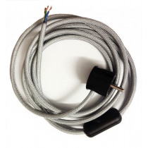 Assembled Supply Cord with Schuko Plug and Inline Cord Switch Silver 3 Core