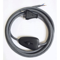 Assembled Supply Cord with Euro Plug and Dimmer Dark Grey 2 Core