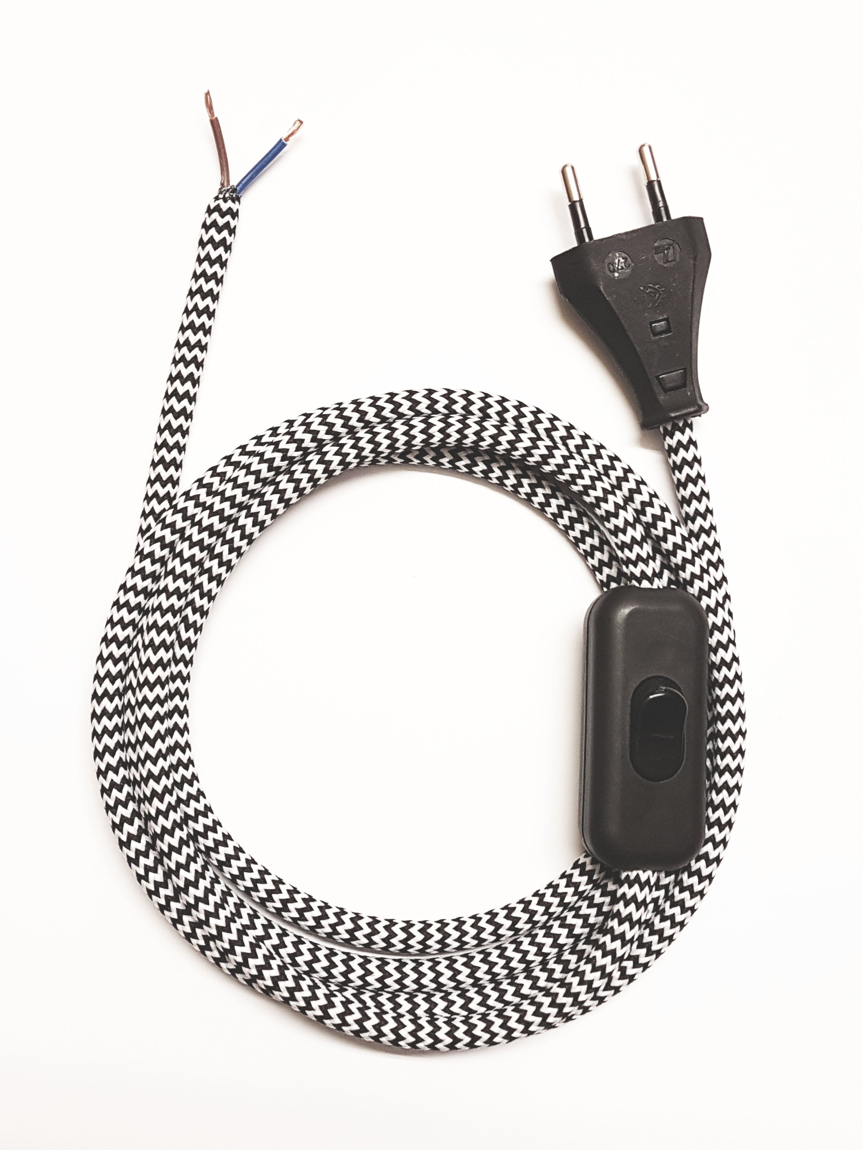 Assembled Supply Cord with Plug and Inline Cord Switch Black-White Zig Zag 2 Core