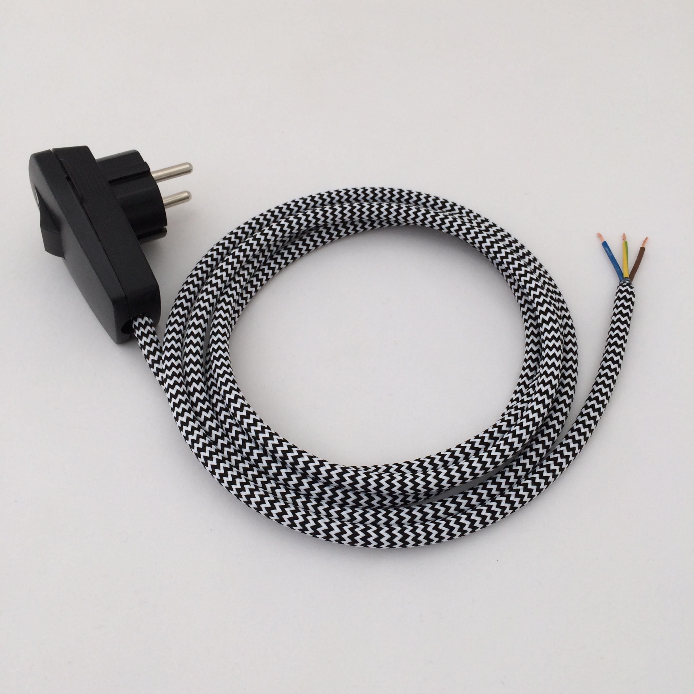 Assembled Supply Cord with Schuko Plug-Switch Black-White Zig Zag 3 Core