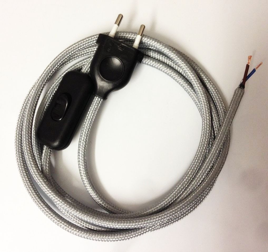 Assembled Supply Cord with Plug and Inline Cord Switch Silver 2 Core 2m
