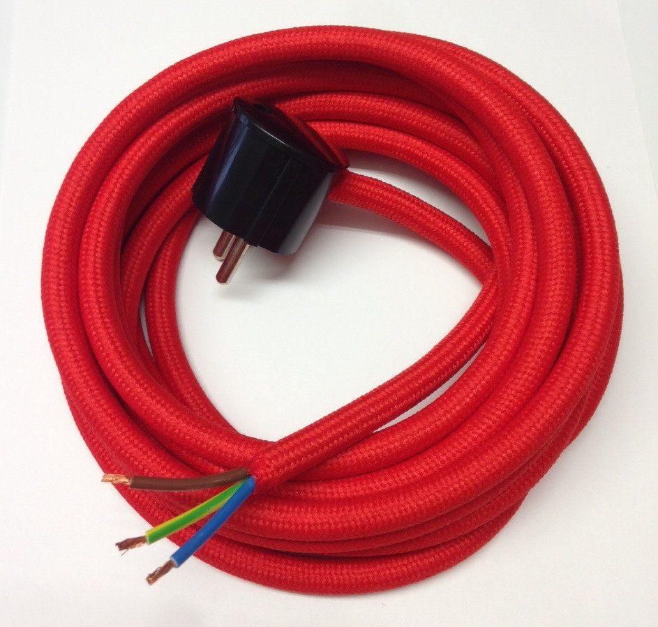 Assembled Supply Cord with Schuko Plug Light Red 3 Core 1,5mm2