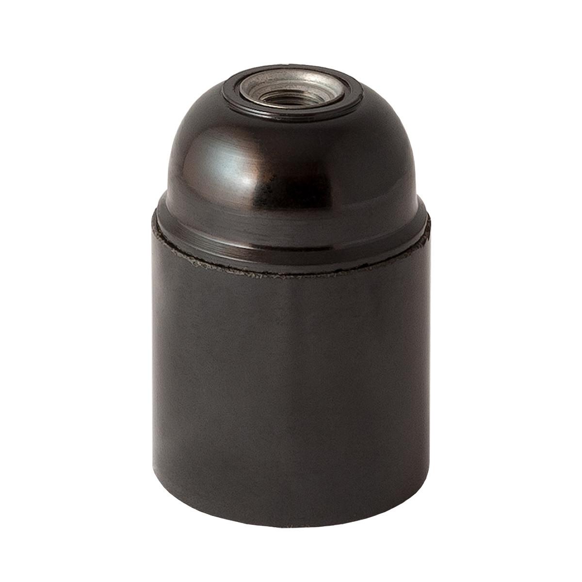 Bakelite Lamp Holder E27 Cylindrical Unthreaded Black