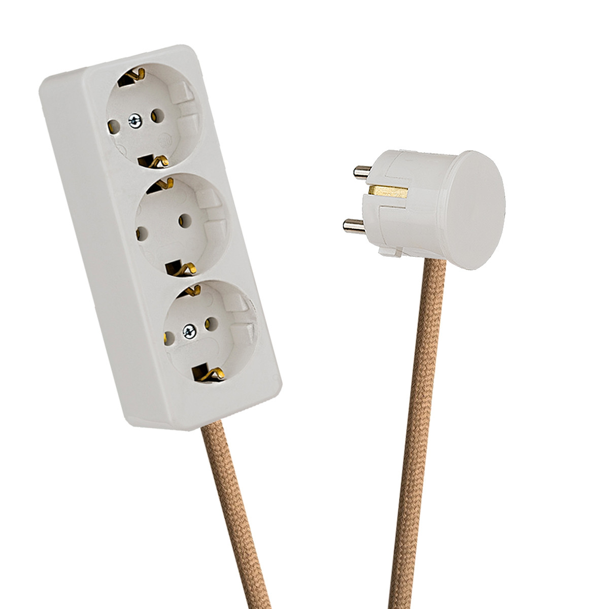 White 3-Way Socket Outlet Beige