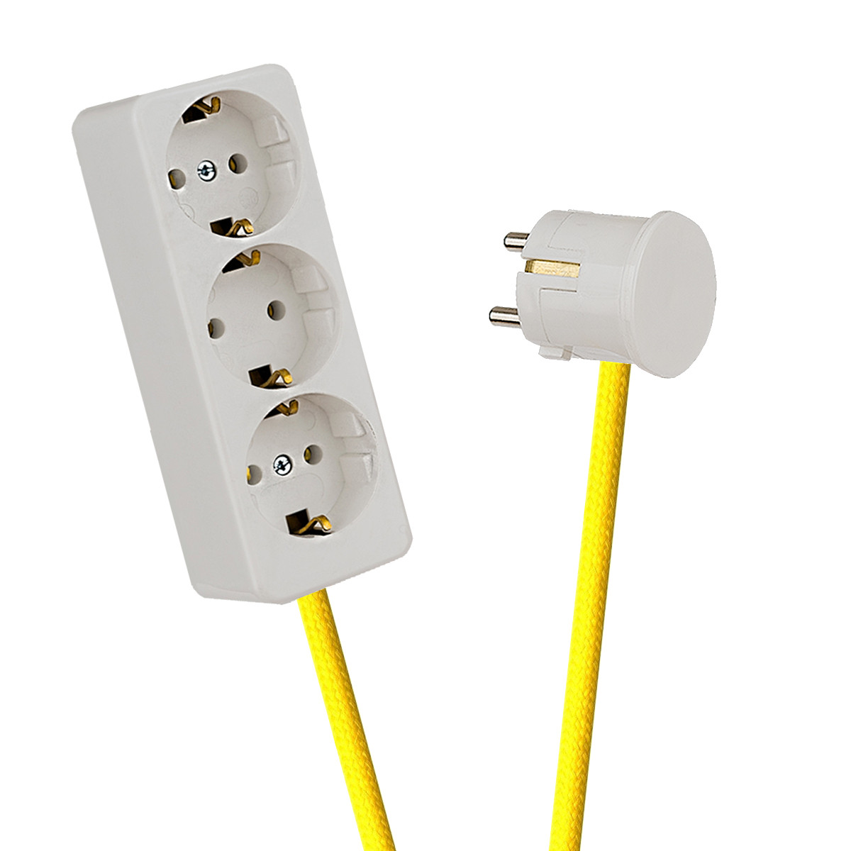 White 3-Way Socket Outlet Empire Yellow