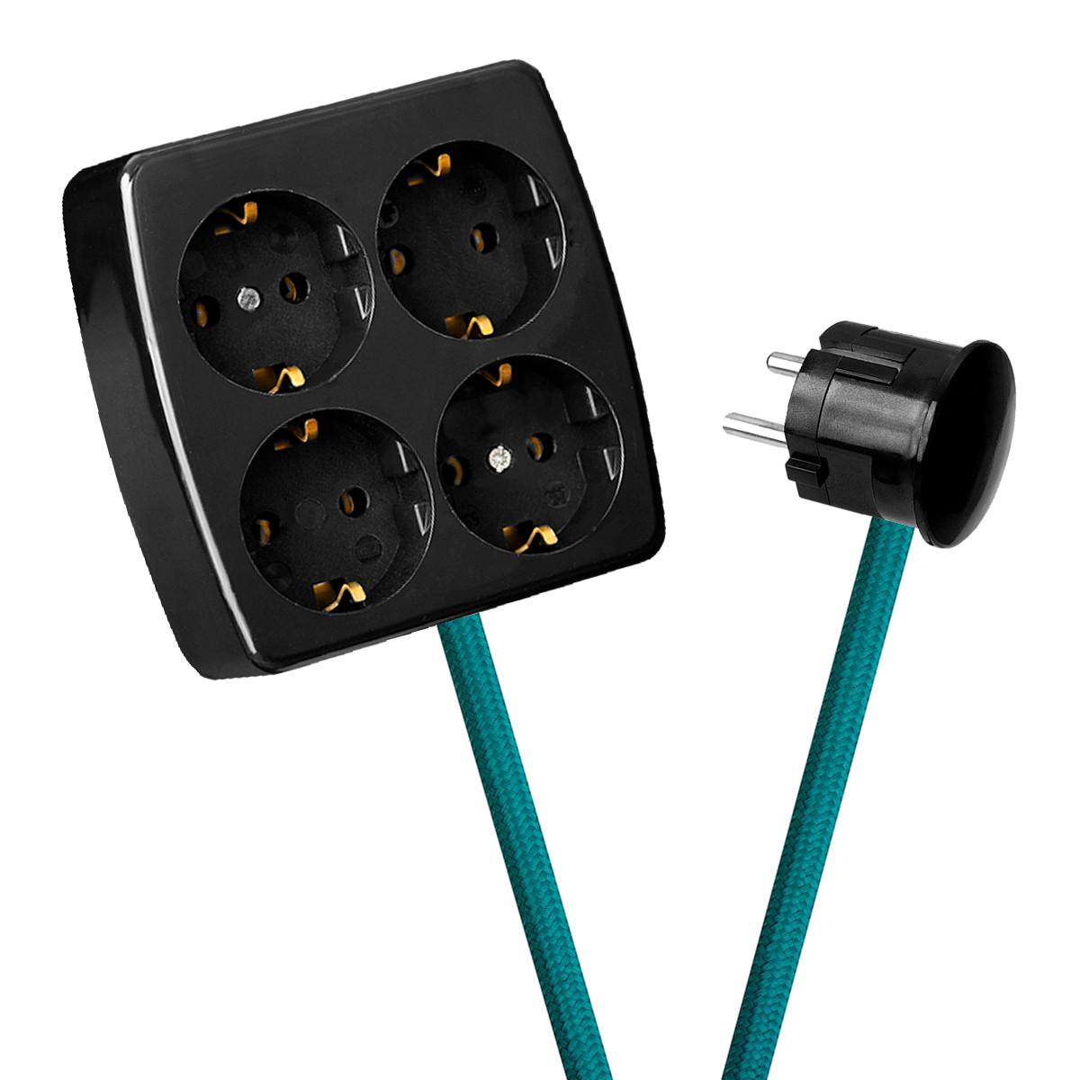 Black 4-Way Socket Outlet Turquoise