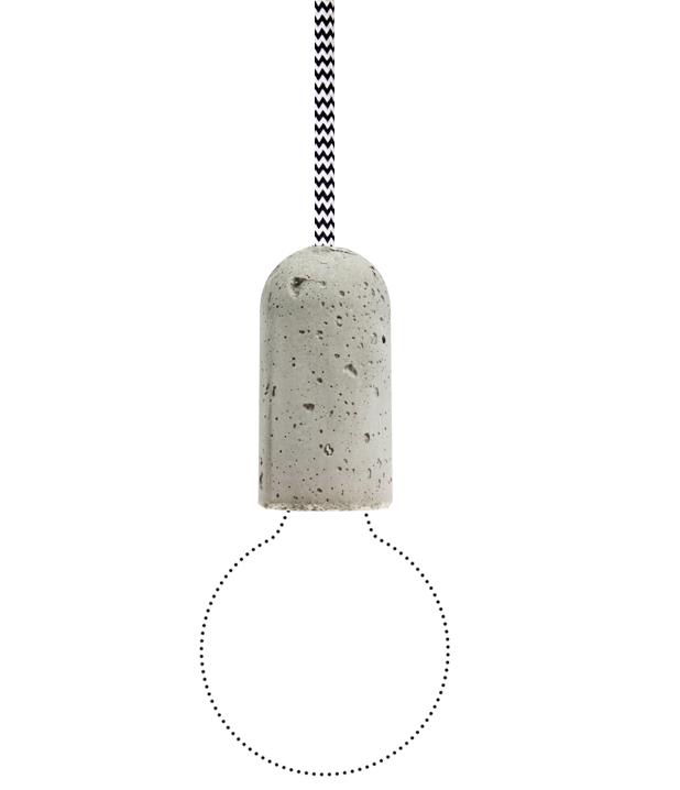 NUD BASE Concrete Pendant Lamp Black White ZigZag