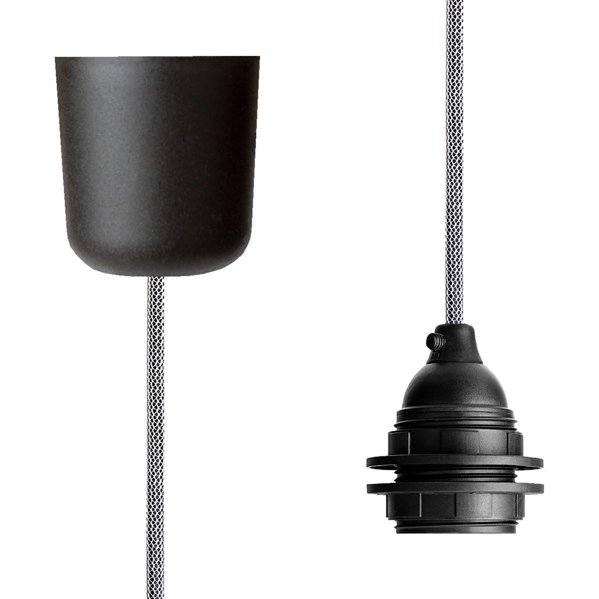 Pendant Lamp Plastic Shiny White-Black Netlike