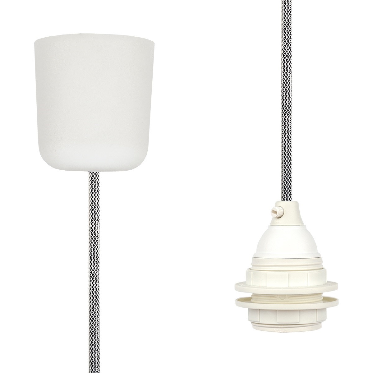 Pendant Lamp Plastic Off White-Black Netlike