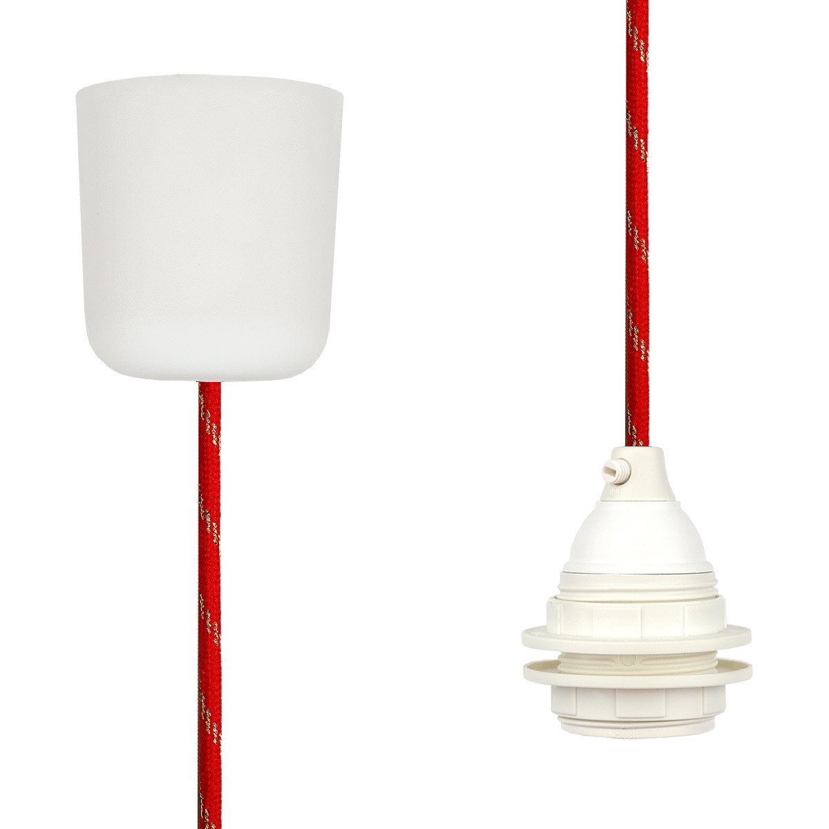 Pendant Lamp Plastic Red-Gold Twist