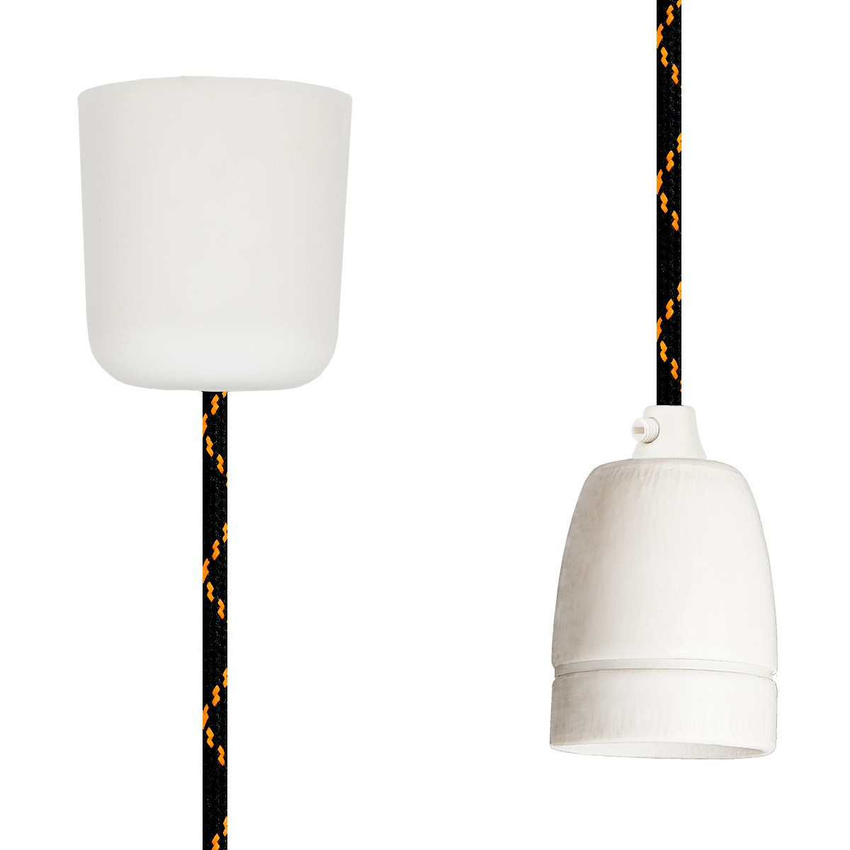 Pendant Lamp Porcelain Black Orange