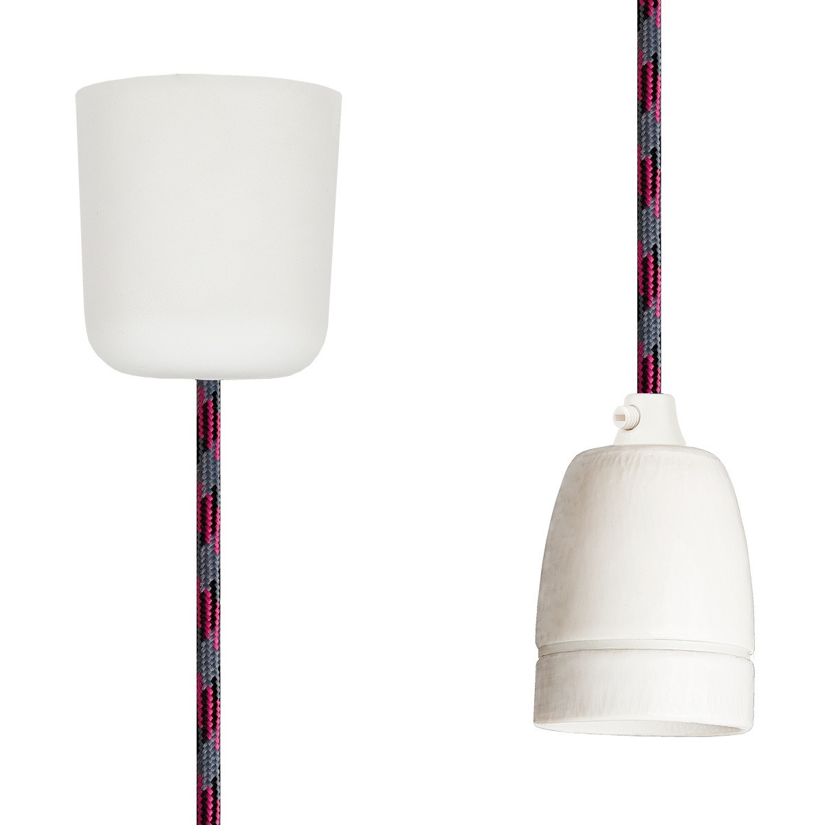 Pendant Lamp Porcelain Grey-Black-Cerise