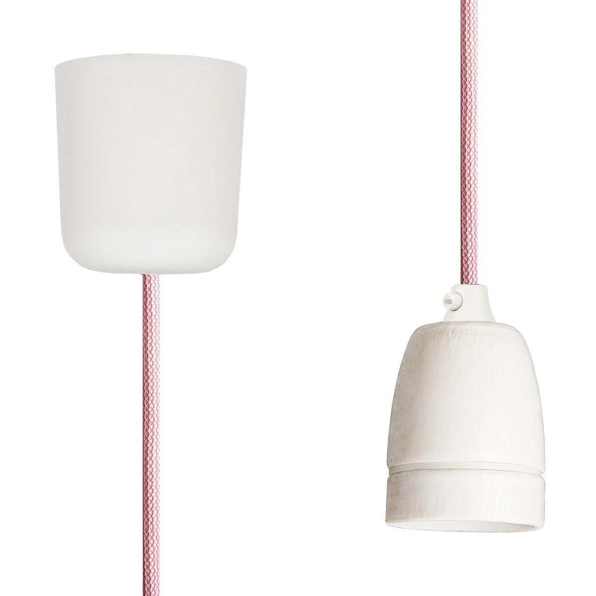 Pendant Lamp Porcelain Pastel Pink Netlike