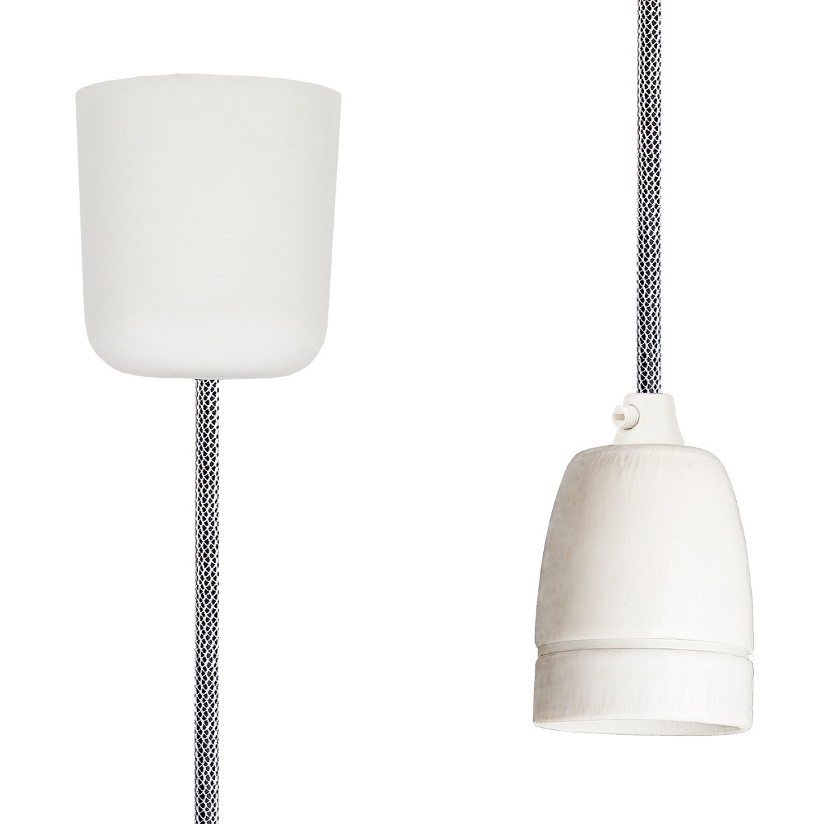 Pendant Lamp Porcelain Shiny White-Black Netlike