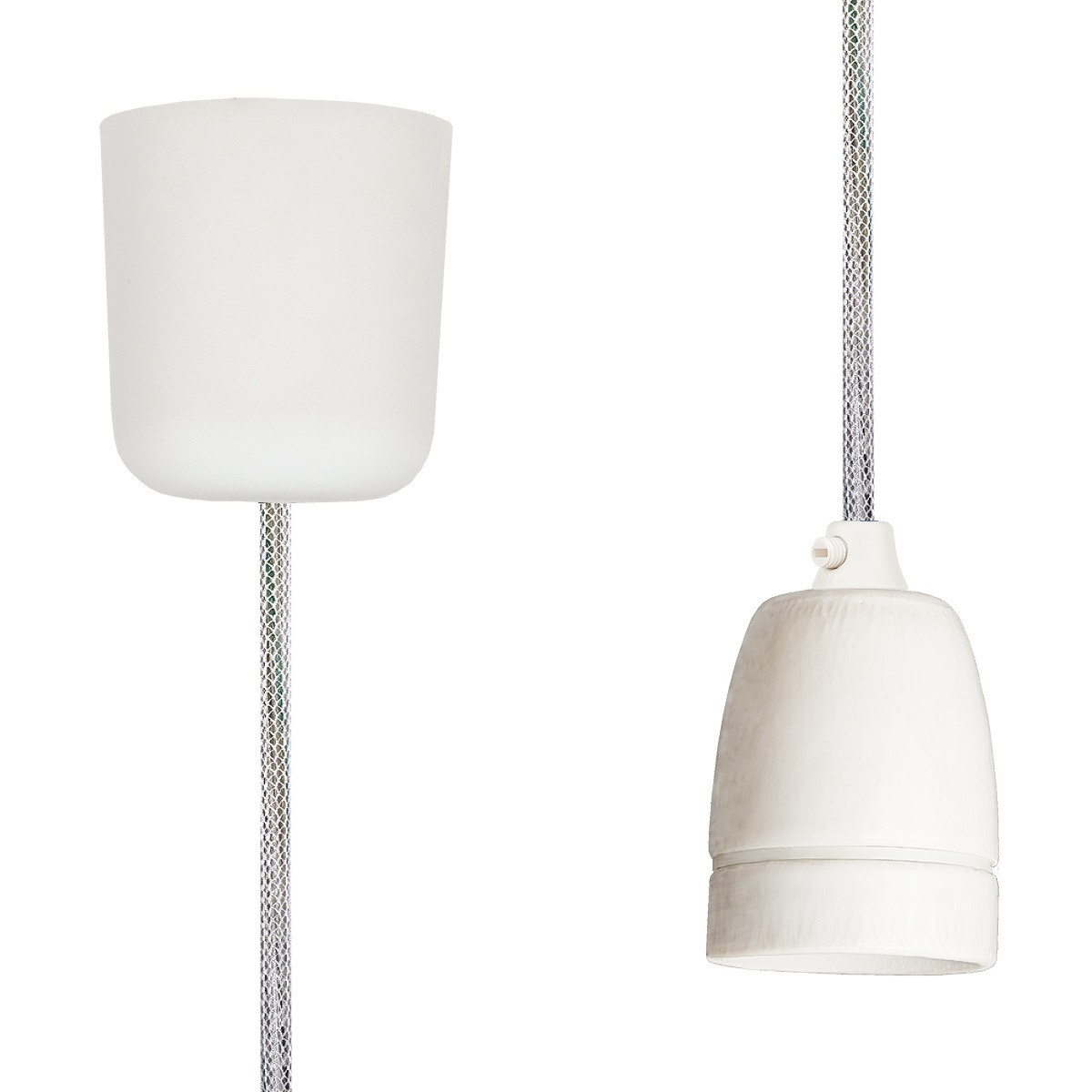 Pendant Lamp Porcelain Shiny White Netlike