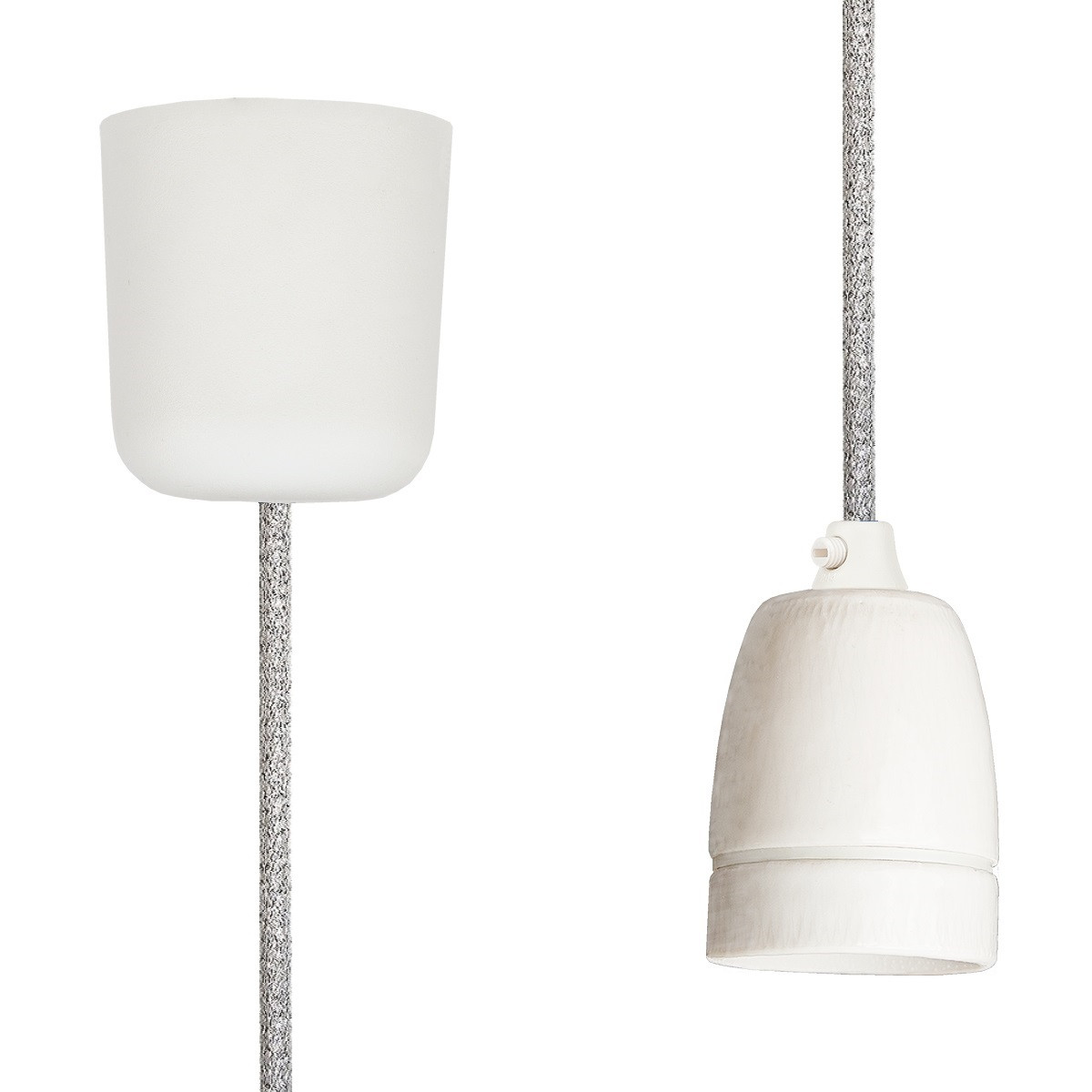 Pendant Lamp Porcelain Silver Glitter