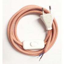 Assembled Supply Cord with Plug and Inline Cord Switch Salmon 2 Core 2m