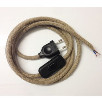 Assembled Supply Cord with Plug and Inline Cord Switch Linen 2 Core 3m