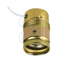 Metal Lamp Holder E27 Cylinder Shape Unthreaded with Pull Switch Gold