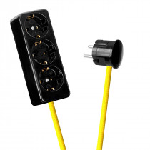 Black 3-Way Socket Outlet Empire Yellow