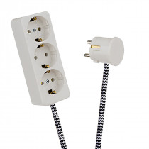 White 3-Way Socket Outlet Black-White Zig Zag
