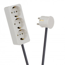 White 3-Way Socket Outlet Dark Grey