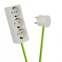 White 3-Way Socket Outlet Light Green