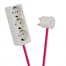White 3-Way Socket Outlet Pink