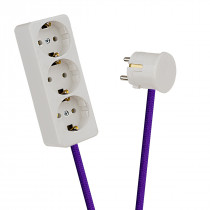 White 3-Way Socket Outlet Purple