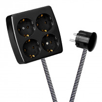 Black 4-Way Socket Outlet Black-White Zig Zag