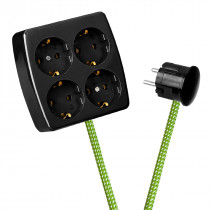 Black 4-Way Socket Outlet Green-White Spots