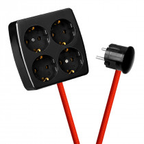 Black 4-Way Socket Outlet Rust Red