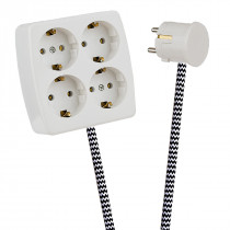 White 4-Way Socket Outlet Black-White Zig Zag