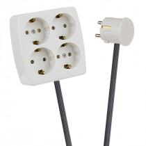 White 4-Way Socket Outlet Dark Grey