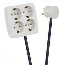 White 4-Way Socket Outlet Dark Grey Netlike